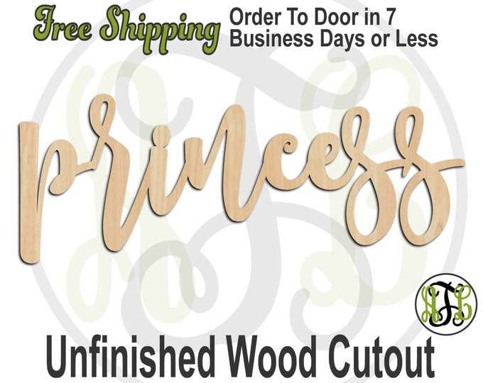 princess - 320031FrFt- Word Cutout, unfinished, wood cutout, wood craft, laser cut wood, wood cut out, Door Hanger, wooden, wreath accent