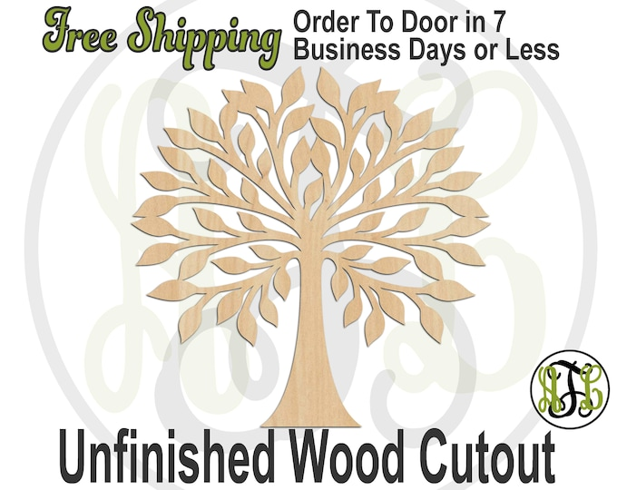 Leafy Tree - 300170- Nature Cutout, unfinished, wood cutout, wood craft, laser cut shape out, wood cut out, Door Hanger, Family Tree, wooden