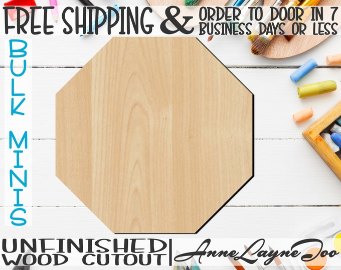 "Octagon- 1"" to 6"" Minis, Small Wood Cutout, unfinished, wood cutout, wood craft, laser cut shape, wood cut out, ornament -40041"