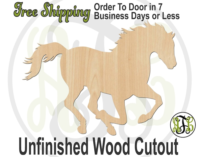 Horse - 230109- Farm Cutout, unfinished, wood cutout, wood craft, laser cut shape, wood cut out, wood cut out, wooden, Equestrian, Racing