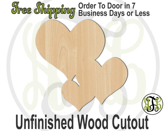 Hearts Scattered 2 - 110005- Valentine Cutout, unfinished, wood cutout, wood craft, laser cut shape, wood cut out, Door Hanger, wooden