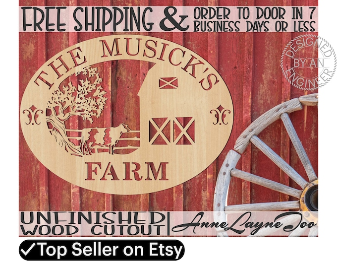 Tree Cow Barn Family Farm Wood Sign, Family Farm Sign wooden cut out, Custom Wooden Farm Sign, unfinished, wood cutout, laser cut -520001NA