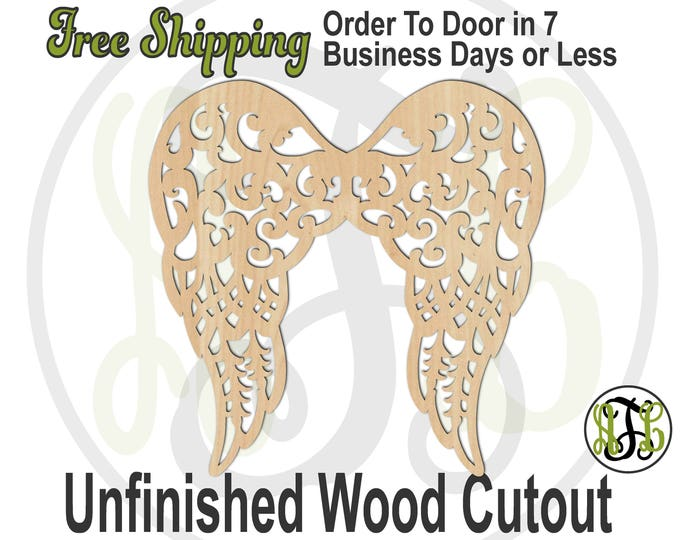 Ornate Angel Wings - 290038- Religious Cutout, unfinished, wood cutout, wood craft, laser cut shape out, wood cut out, Door Hanger, wooden