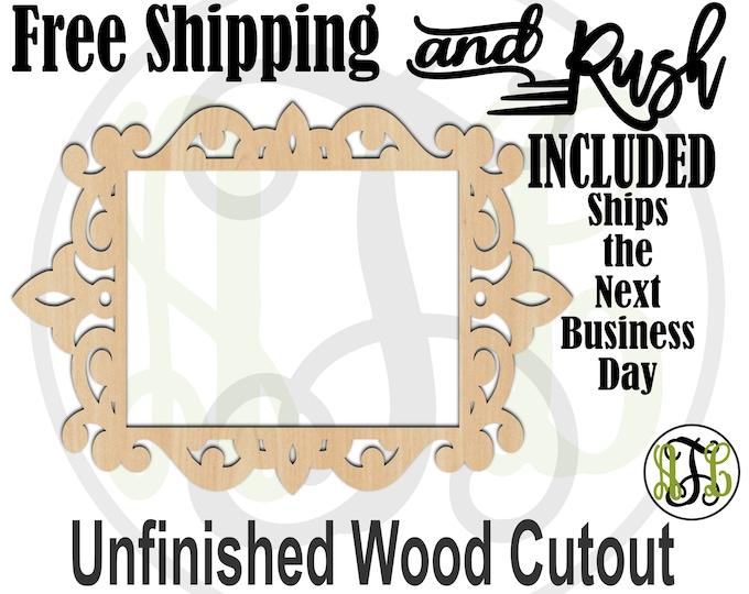 Ornate Frame - 360002- Empty Frame Cutout, unfinished, wood cutout,  laser cut shape, DIY, Free Shipping - RUSH PRODUCTION