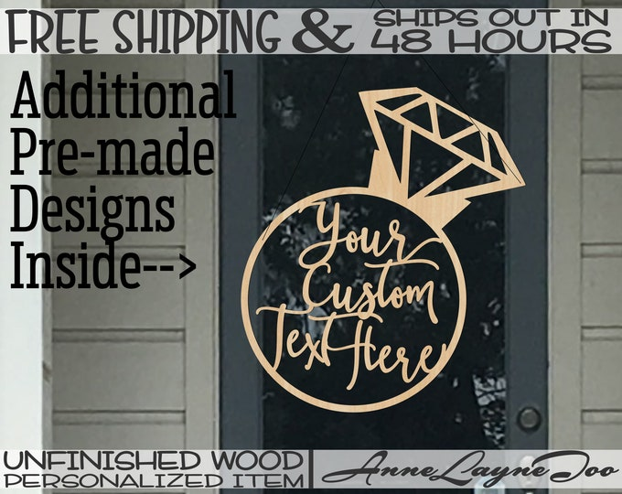 Diamond Ring Wood Sign, Bridal Shower, Wedding, Anniversary, Engagement, unfinished, wood cut out, laser cut, Ships in 48 HOURS -261025-27