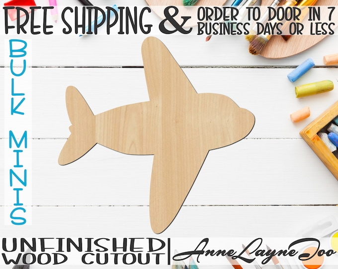 "Airplane 2- 2"" to 6"" Minis, Small Wood Cutout, unfinished, wood cutout, wood craft, laser cut shape, wood cut out, ornament -10010"