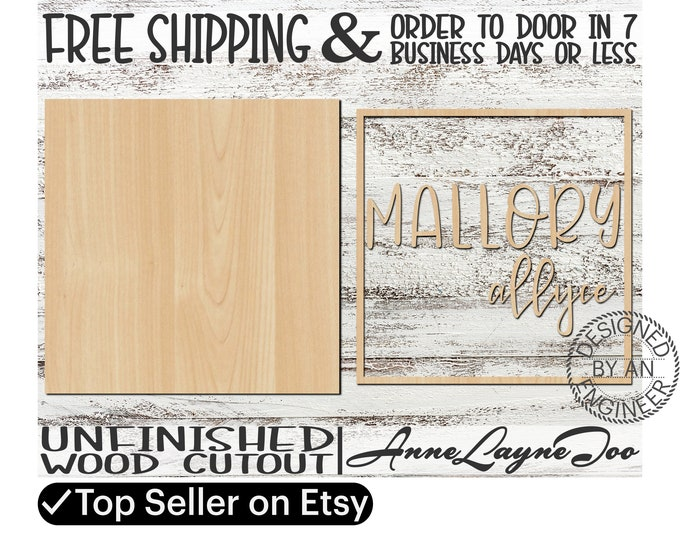Two-Name Sign DIY Kit Square Sign Cutout, unfinished wood cutout, Nursery Sign, laser cut, Nursery Wall Plaque, Girl Sign, Boy Sign - 460002