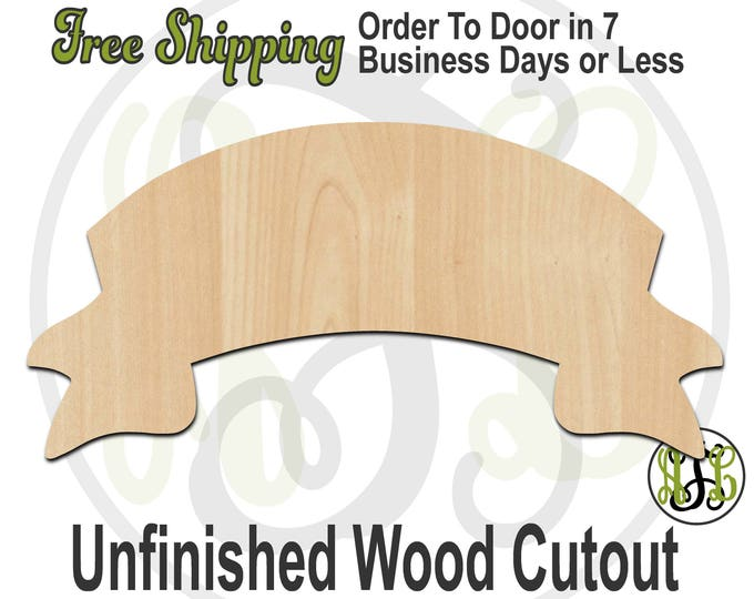 Arched Banner - 40051- Banner Cutout, unfinished, wood cutout, wood craft, laser cut shape, wood cut out, DIY, Free Shipping, wood sign
