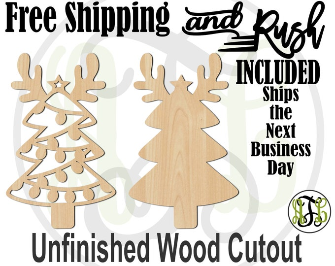 Reindeer Lights Tree- 180521-22 - Christmas Cutout, uNfinished, wood cutout, laser cut wood, wood cut out, Door Hanger, RUSH PRODUCTION