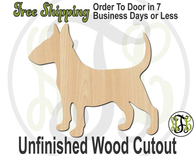 Bull Terrier - 230076- Animal Cutout, unfinished, wood cutout, wood craft, laser cut shape, wood cut out, Door Hanger, Dog, wooden, blank