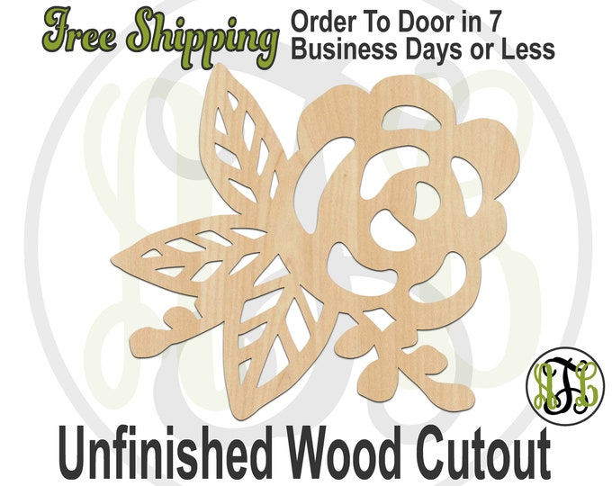 Flower and Leaves- 200003 - Nature Cutout, unfinished, wood cutout, wood art, laser cut shape, wood cut out, Door Hanger, wooden