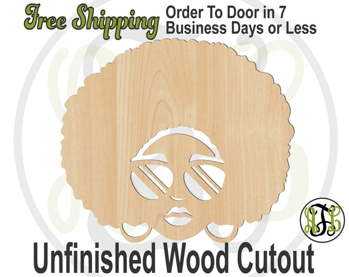 African American Lady with Headband Wood Cutout, Lady with Afro Door Hanger, wood cut out, Afro, laser cut, unfinished wood cutout - 3300012