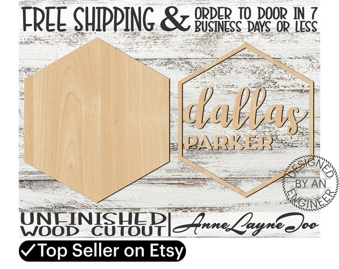 Two - Name Sign DIY Kit Hexagon Sign Cutout, unfinished wood cutout, wooden, laser cut, Nursery Wall Plaque, Girl Sign, Boy Sign - 460003