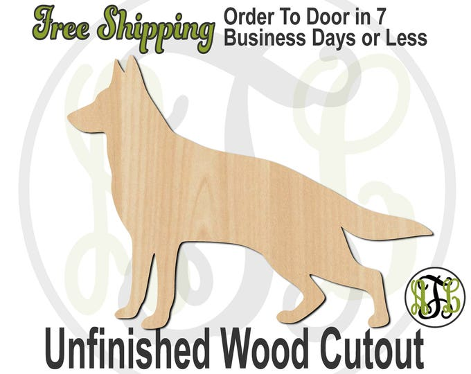 German Shepherd - 230099- Animal Cutout, unfinished, wood cutout, wood craft, laser cut shape, wood cut out, Door Hanger, Dog, wooden, blank