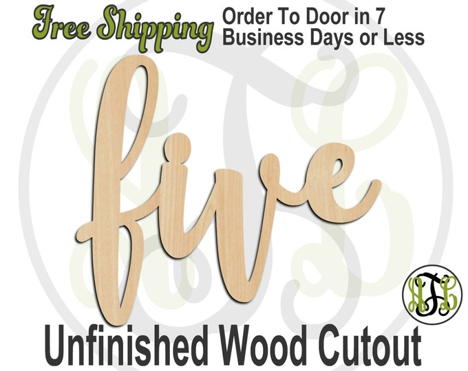 five - 320232FrFt- Word Cutout, unfinished, wood cutout, birthday, number, laser cut wood, wood cut out, Door Hanger, wooden sign, age