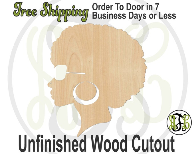 African American Girl with Glasses Wood Cutout, African American Wall Art, Afro Door Hanger, laser cut, unfinished wood cutout - 3300009