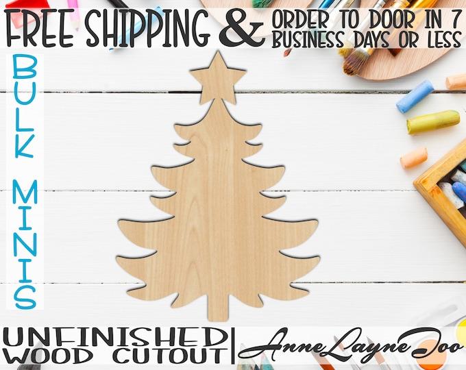 "Christmas Tree 2, 2"" to 6"" Minis, Small Wood Cutout, unfinished, wood cutout, wood craft, laser cut, wood cut out, ornament -180036"