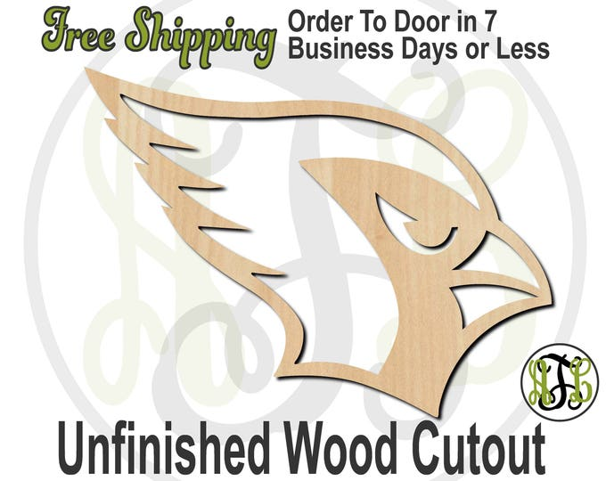 Cardinal Head Mascot Outline- 60631- School Spirit Cutout, unfinished, wood cutout, wood craft, laser cut, wood cut out, Free Ship, wooden