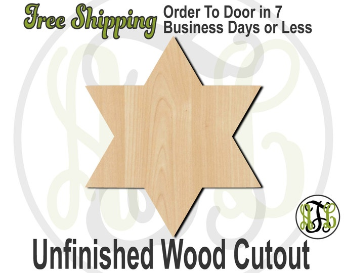 Star of David- 290011- Religious Cutout, unfinished, wood cutout, wood craft, laser cut shape, wood cut out, Door Hanger, wooden