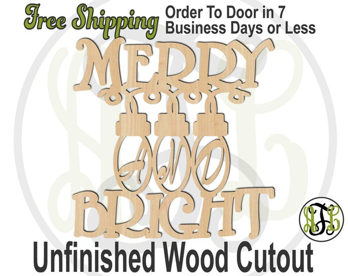 Merry And Bright - 180204- Christmas Cutout, unfinished, wood cutout, wood craft, laser cut shape, wood cut out, Door Hanger, wooden