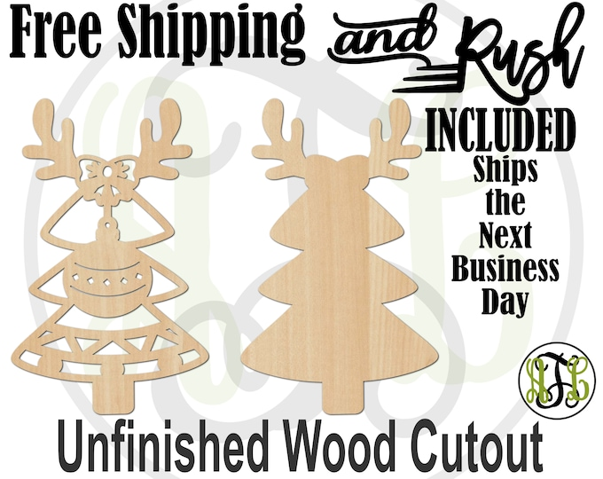 Reindeer Ornament Tree-180521-22 - Christmas Cutout, unfinished, wood cutout, laser cut wood, wood cut out, Door Hanger, RUSH PRODUCTION