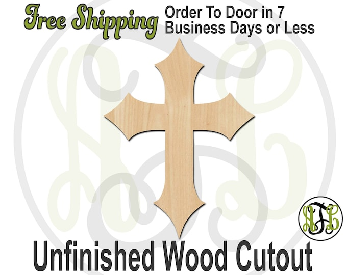 Cross 3- 290034- ReligiousCutout, unfinished, wood cutout, wood craft, laser cut shape, wood cut out, Door Hanger, wooden, ready to paint
