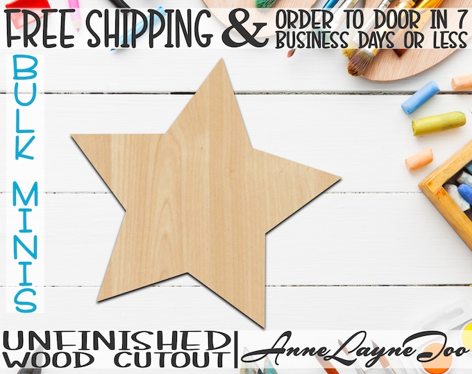 "Five Pointed Star- 1"" to 6"" Minis, Small Wood Cutout, unfinished, wood cutout, wood craft, laser cut, wood cut out, ornament -300143"