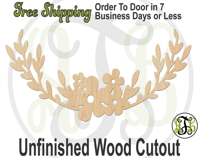Leafy Flower Swag -200002- Embellishment Cutout, unfinished, wood cutout, wood craft, laser cut wood, wood cut out, Door Hanger, wooden sign
