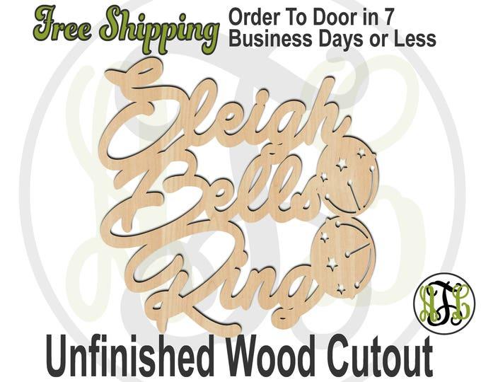 Sleigh Bells Ring - 180209- Christmas Cutout, unfinished, wood cutout, wood craft, laser cut shape, wood cut out, Door Hanger, wooden