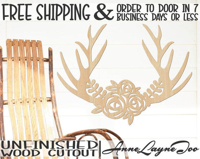 Antlers with Flower Swag Wood Cutout Nature Cutout, Antlers wall art, Door Hanger, Deer Antlers, unfinished, wood cut out, laser cut -200004