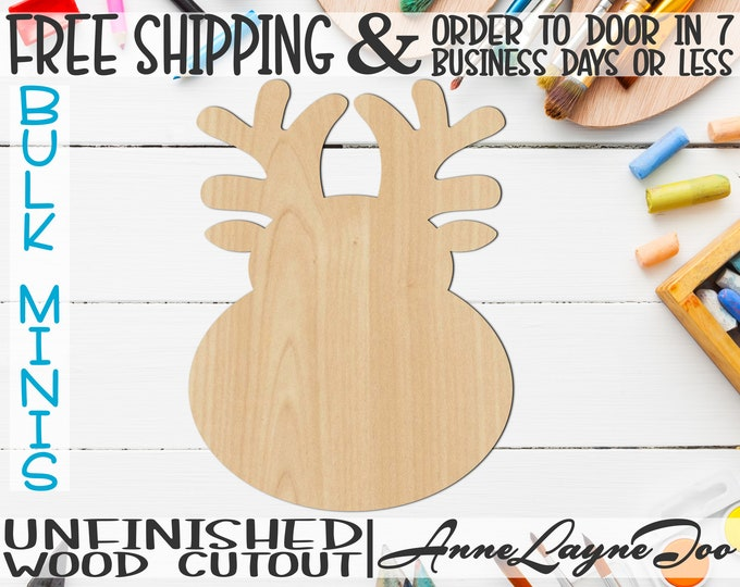 """Cartoon Reindeer, 2"""" to 6"""" Minis, Small Wood Cutout, unfinished, wood cutout, wood craft, laser cut, wood cut out, ornament -180093"""