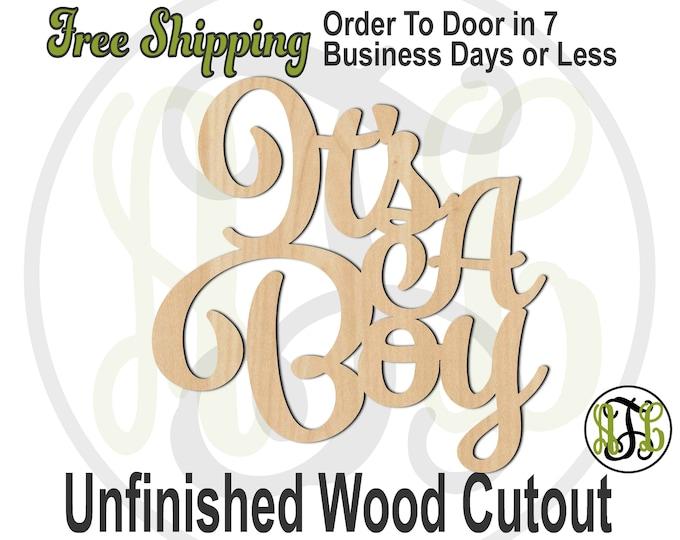 It's A Boy - 325075- Cutout, unfinished, wood cutout, wood craft, laser cut wood, wood cut out, Door Hanger, wooden sign, wall art