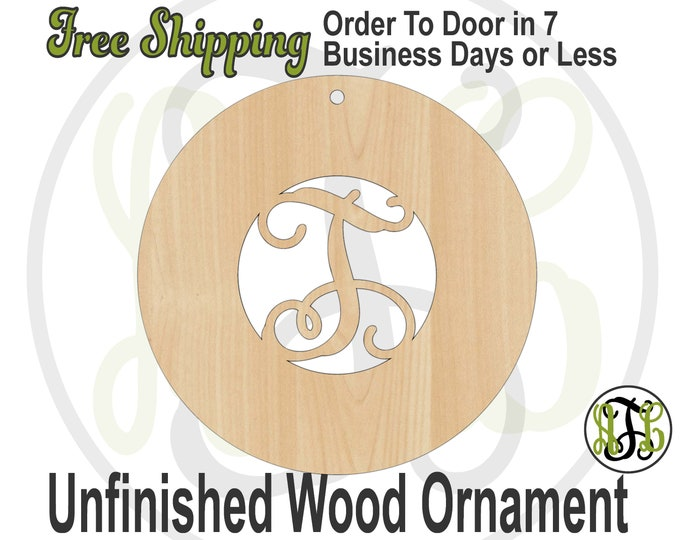 Ornament Initial w/ Thick Circle Border- Rustic Unfinished Ornament, wood cutout, wooden gift, laser cut wood,  Car Charm, Memento, Keepsake