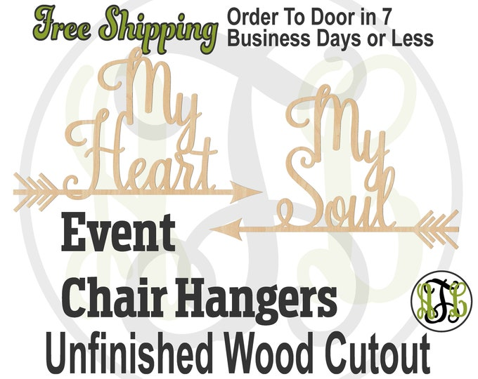 My Heart and My Soul Pair of Signs- 261009-12- Event Cutout, unfinished sign, wood cutout, laser wood cut out, Wedding, Anniversary, Shower