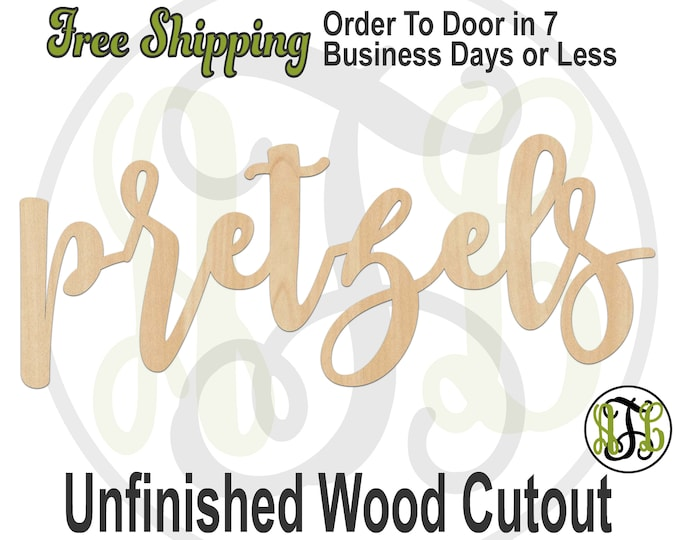 pretzels - 320352FrFt- Word Cutout, unfinished, wood cutout, wood craft, laser cut wood, wood cut out, Door Hanger, wooden, wreath accent