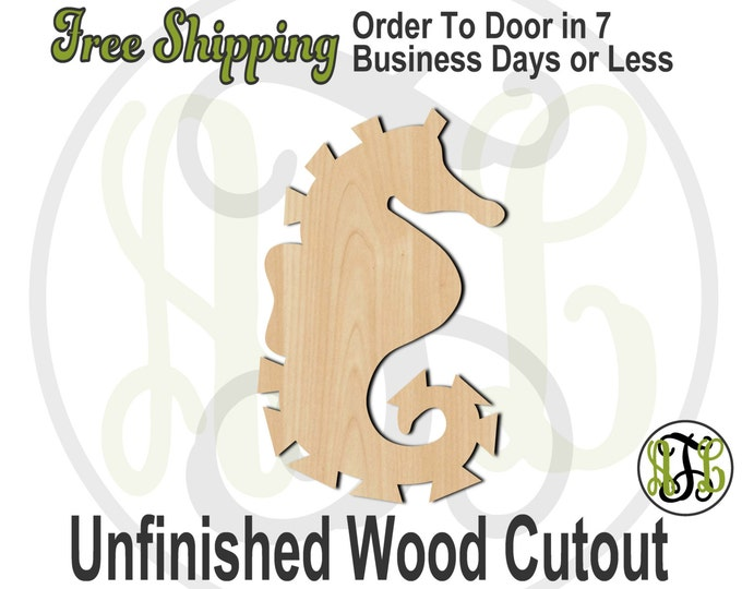 Seahorse - 50007- Nautical Cutout, unfinished, wood cutout, wood craft, laser cut shape, wood cut out, Door Hanger, wooden, blank