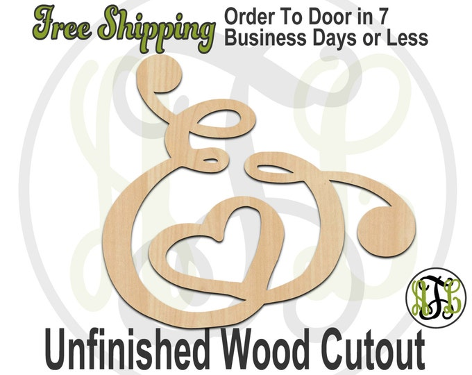 Ampersand 5- 322005- Cutout, unfinished, wood cutout, wood craft, laser cut wood, wood cut out, Door Hanger, wooden sign, wall art