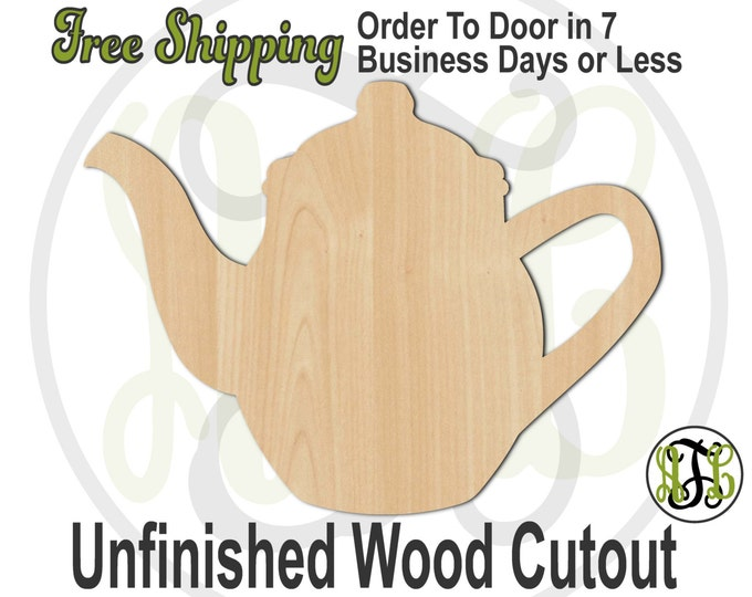 Teapot 1 - 300046- Kitchen Cutout, unfinished, wood cutout, wood craft, laser cut shape, wood cut out, Door Hanger, wooden, ready to paint
