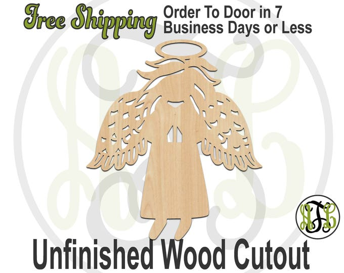 Angel with Feather Wings- 180090- Christmas Cutout, unfinished, wood cutout, wood craft, laser cut shape, wood cut out, Holiday, wooden