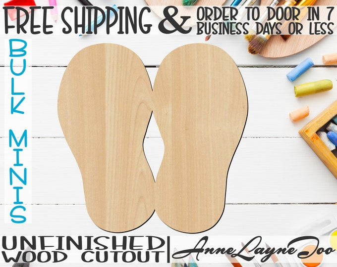 """2 Flip Flops, 2"""" to 6"""" Minis, Small Wood Cutout, unfinished, wood cutout, wood craft, laser cut, wood cut out, ornament -300134"""