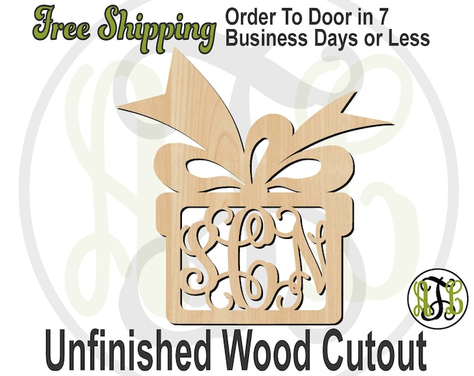 Gift Box & Bow - 180008M3- Christmas Personalized Cutout, 3-Letter Monogram , unfinished, wood cutout, wood craft, laser cut, wood cut out