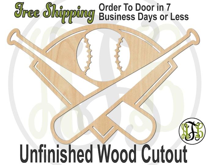 Bats Ball and Field -60337- Baseball Cutout, unfinished, wood cutout, wood craft, laser cut, wood cut out, Door Hanger, wooden, Sports