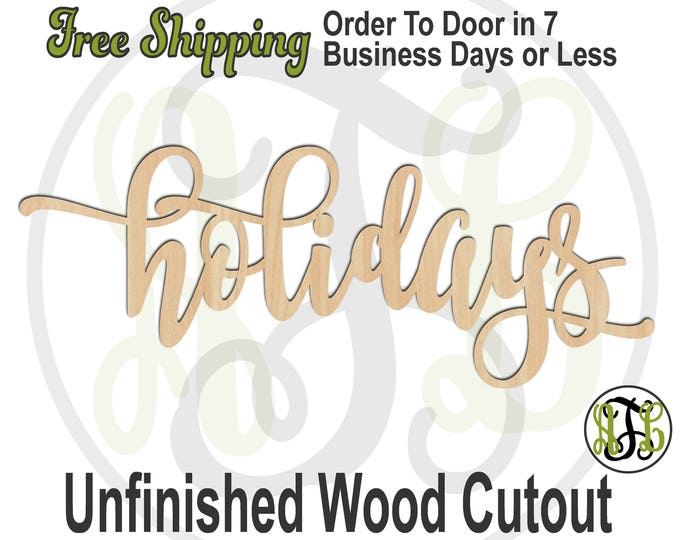 holidays - 320326FrFt- Word Cutout, unfinished, wood cutout, craft, laser cut wood, wood cut out, Door Hanger, wood cut out, wooden sign