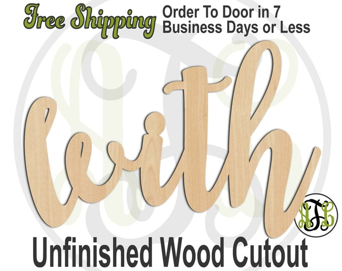 with - 320204FrFt- Word Cutout, unfinished, wood cutout, wood craft, laser cut wood, wood cut out, Door Hanger, wooden sign, wreath accent