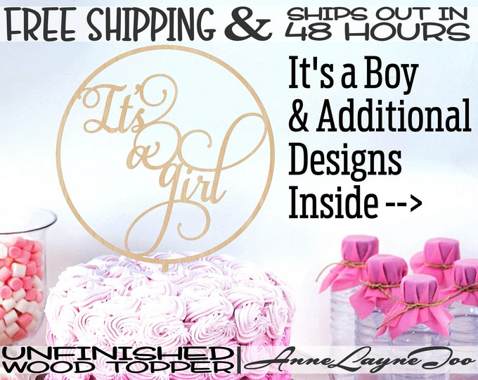"""It's a Girl or Boy Flower or Cake Topper, Engagement Cake Topper, 1/8"""" Baltic Birch Ply, unfinished, laser cut, Ships in 48 HOURS -325184-87"""