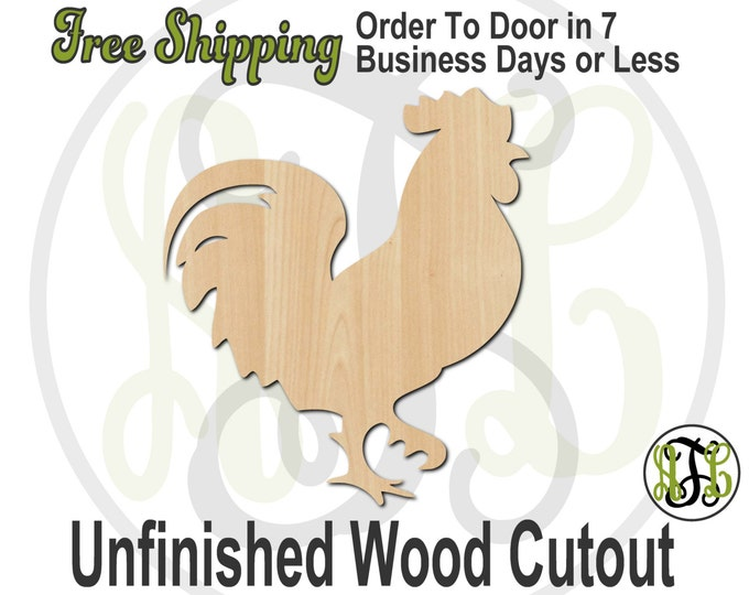 Rooster - 230035- Farm Cutout, unfinished, wood cutout, wood craft, laser cut shape, wood cut out, Door Hanger, Bird, wooden, blank