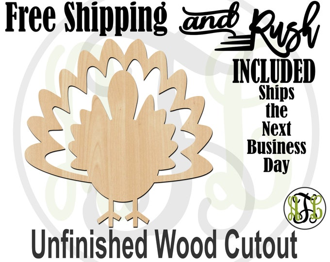 Turkey 2- 170005- Thanksgiving Cutout, unfinished, wood cutout, wood craft, laser cut shape, wood cut out, Door Hanger, RUSH PRODUCTION