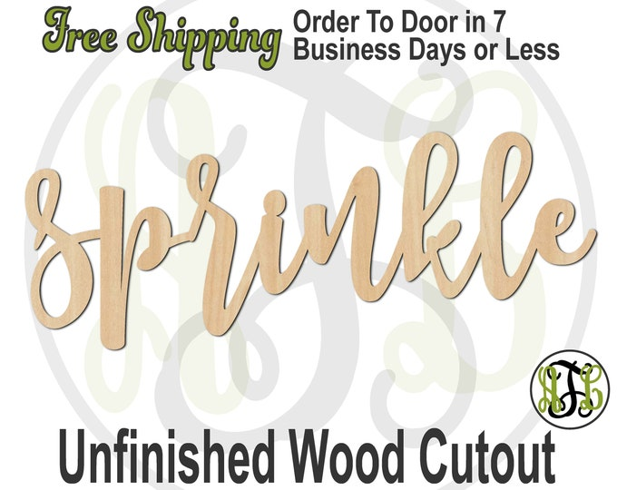 sprinkle - 320351FrFt- Word Cutout, unfinished, wood cutout, wood craft, laser cut wood, wood cut out, Door Hanger, wooden, wreath accent