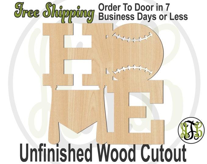 Baseball Home- 60341- Sports Cutout, unfinished, wood cutout, wood craft, laser cut wood, wood cut out, Door Hanger, Basball Bat, Home Plate