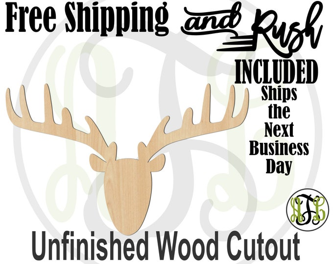Reindeer with Wide Antlers- 180120- Christmas Cutout, Unfinished, wood craft, laser cut, wood cut out, Door Hanger, RUSH PRODUCTION